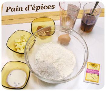 Ingrédients pour la recette du pain d'épices en Machine à pain