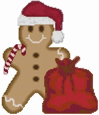 Motif en point de croix pour Noël : Gingerbread Man Santa